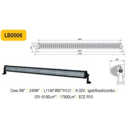 Truck LED žibintas ant stogo tvirtinamas varžtais 240W 1210mmx120x120